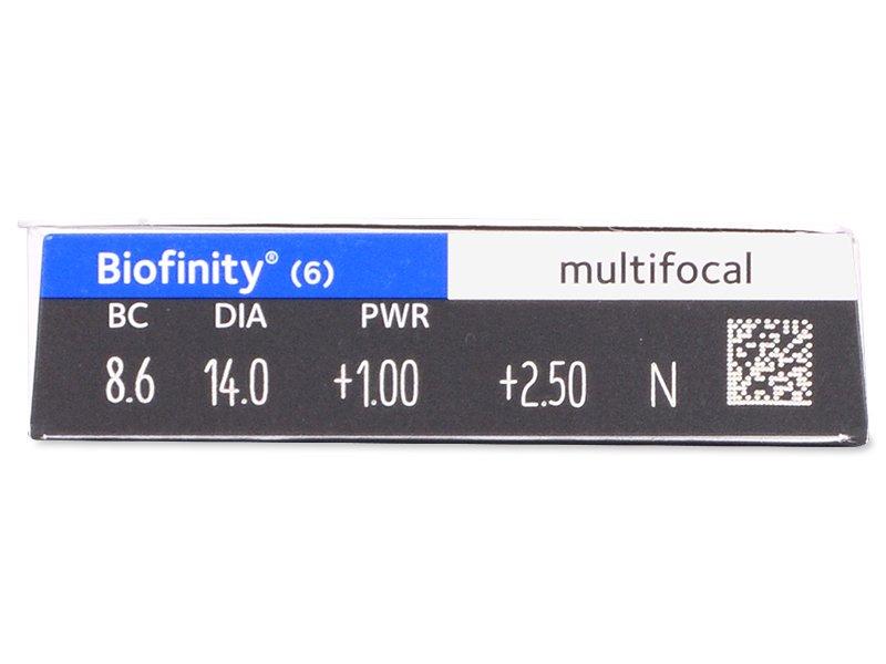Biofinity Multifocal (6šošoviek) - Náhľad parametrov šošoviek