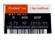 Proclear 1 Day multifocal (30šošoviek) - Náhľad parametrov šošoviek