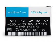 Biomedics 1 Day Extra Toric (30šošoviek) - Náhľad parametrov šošoviek