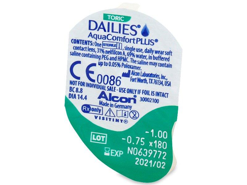 Dailies AquaComfort Plus Toric (30šošoviek) - Vzhľad blistra so šošovkou