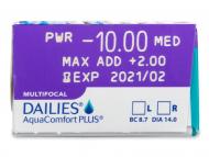 Dailies AquaComfort Plus Multifocal (30šošoviek) - Náhľad parametrov šošoviek