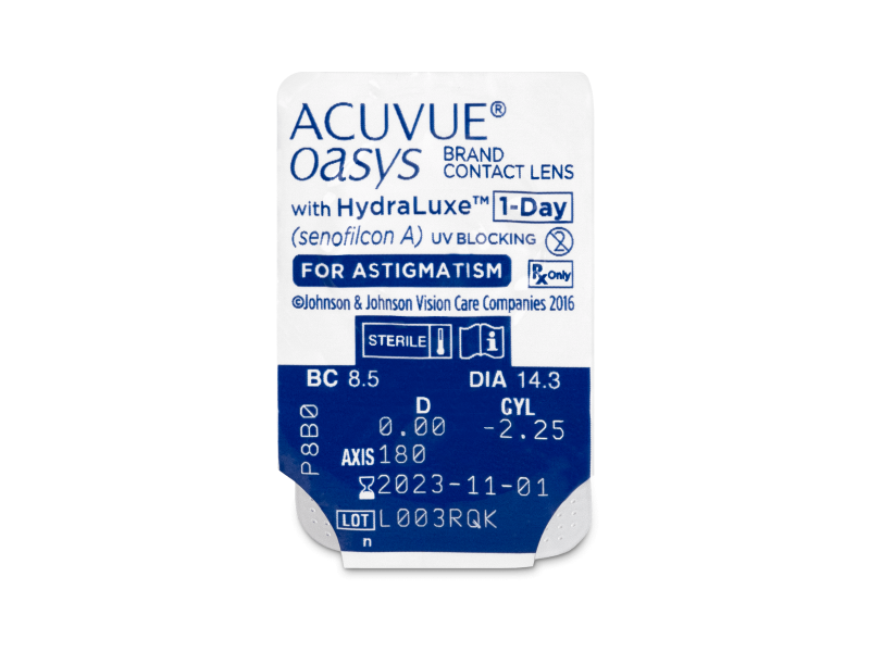 Acuvue Oasys 1-Day with HydraLuxe for Astigmatism (30 šošoviek) - Vzhľad blistra so šošovkou