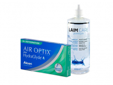 Air Optix plus HydraGlyde for Astigmatism (3 šošovky) + roztok Laim-Care 400 ml