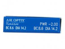 Air Optix plus HydraGlyde (6šošoviek) - Náhľad parametrov šošoviek