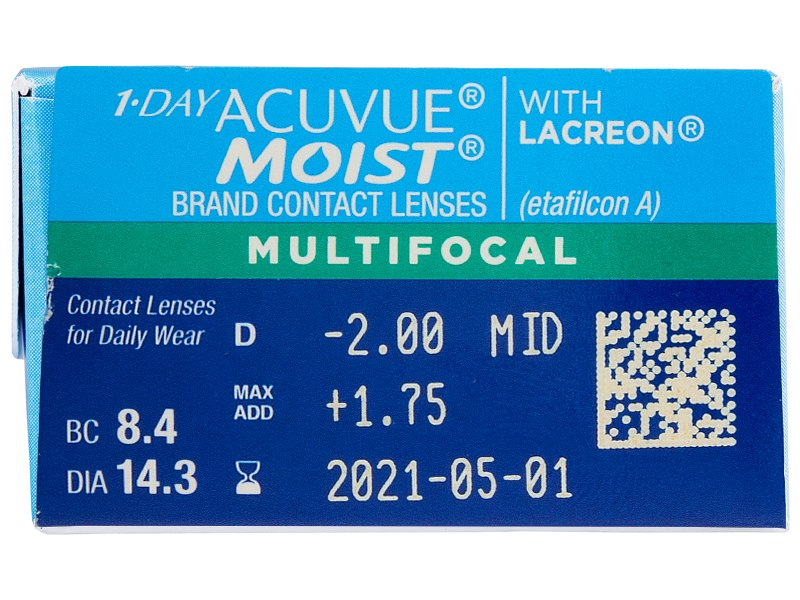 1 Day Acuvue Moist Multifocal (30 šošoviek) - Náhľad parametrov šošoviek