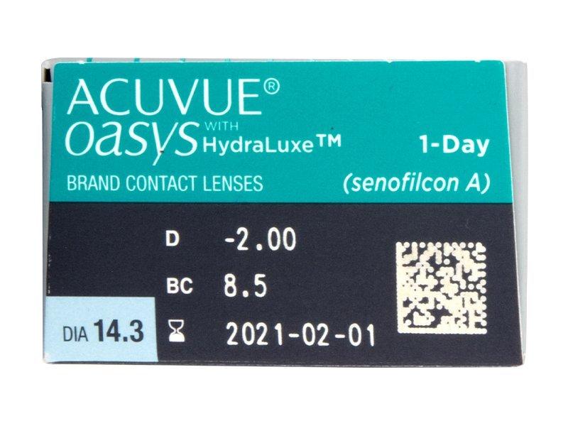 Acuvue Oasys 1-Day (30 šošoviek) - Náhľad parametrov šošoviek