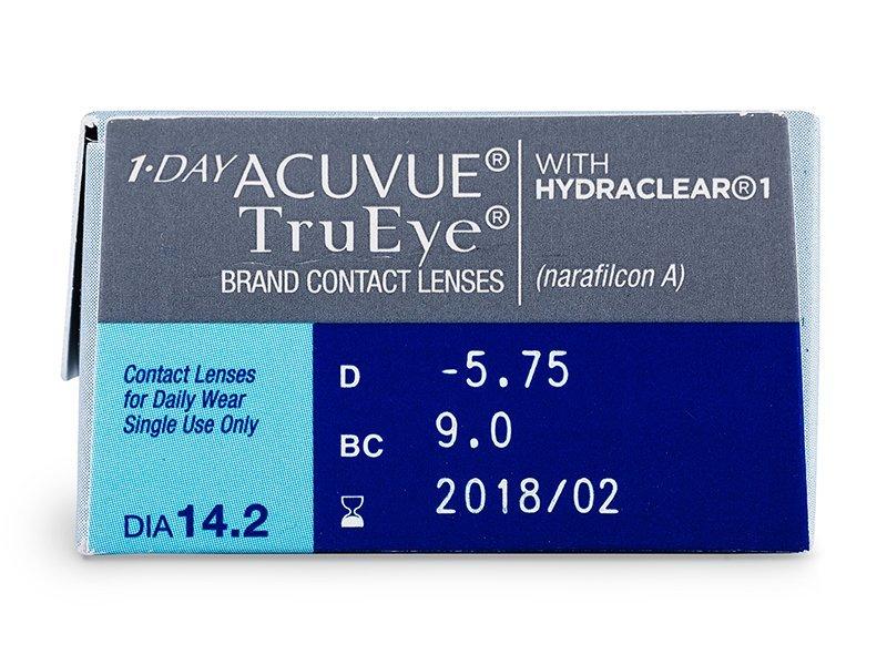 Náhľad parametrov šošoviek - 1 Day Acuvue TruEye (30šošoviek)