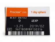 Proclear 1 Day (30šošoviek) - Náhľad parametrov šošoviek