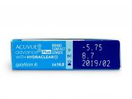 Acuvue Advance PLUS (6šošoviek) - Náhľad parametrov šošoviek