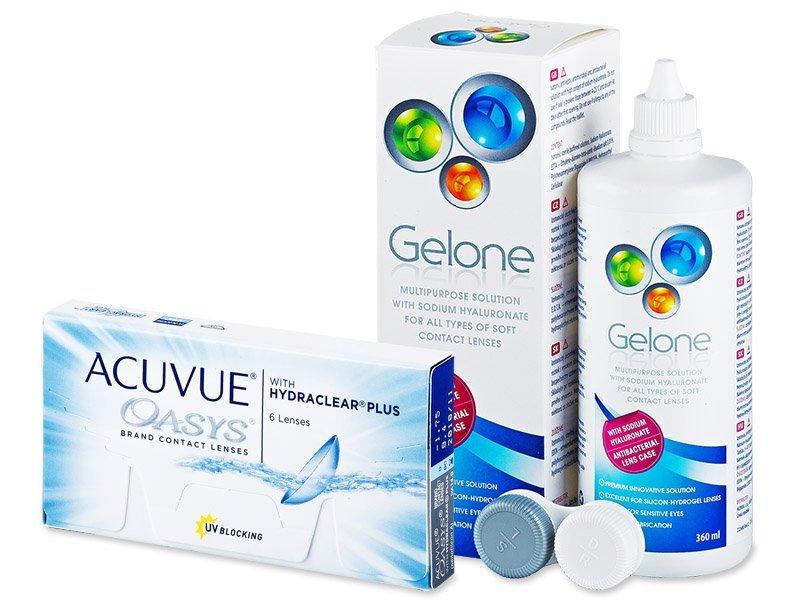 Acuvue Oasys (6šošoviek) + roztok Gelone 360ml - Výhodný balíček