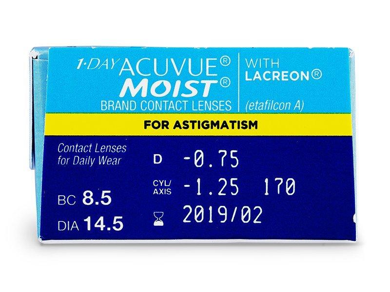 1 Day Acuvue Moist for Astigmatism (30šošoviek) - Náhľad parametrov šošoviek