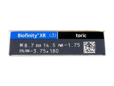 Náhľad parametrov šošoviek - Biofinity XR Toric (3 šošovky)